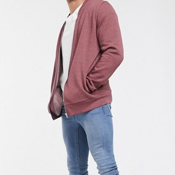 Jersey bomber jacket for mens in burgundy outfit is famous