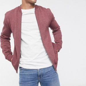 jersey bomber jacket in burgundy marl in style