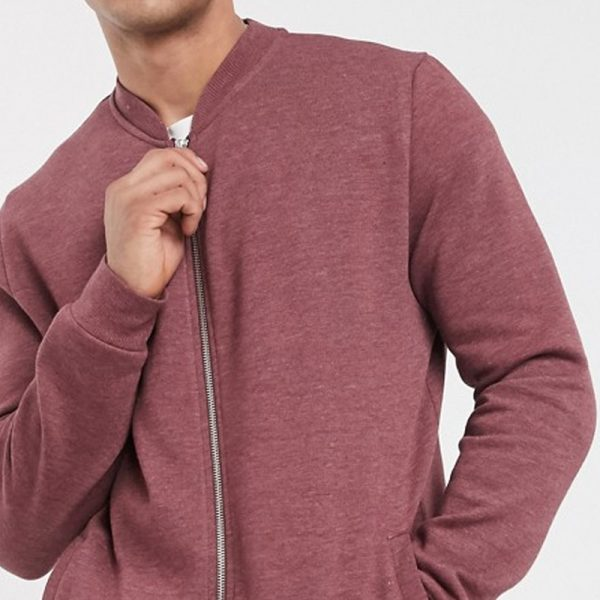 in burgundy marl jersey bomber jacket