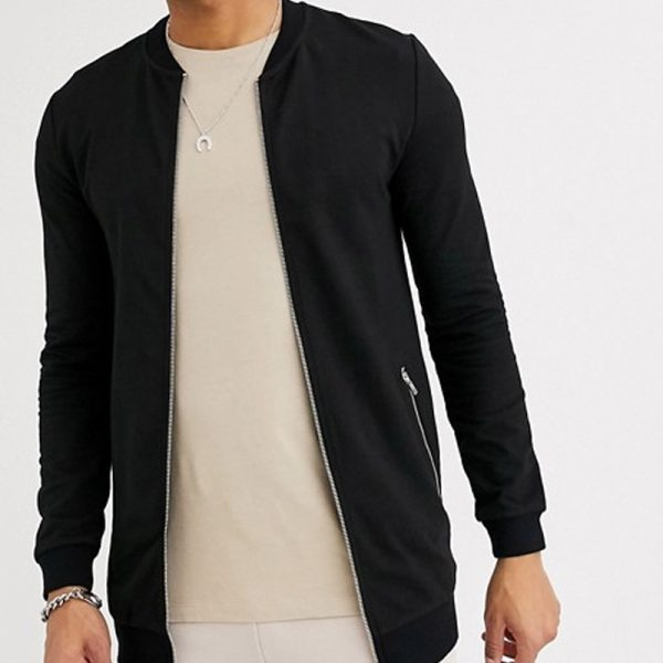 mens black with silver zip pockets in jersey bomber jacket
