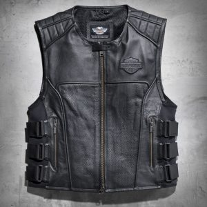 Men`s black rebellion Leather vest costume