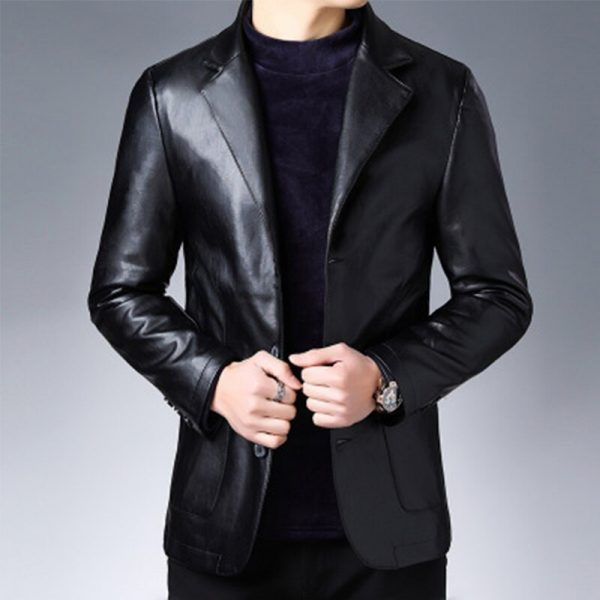 New middle-aged suit leather casual costume