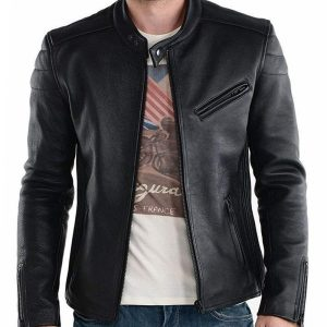 Genuine biker jacket for men`s outfit