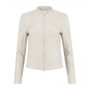 White Leather Jacket for Women's Costume