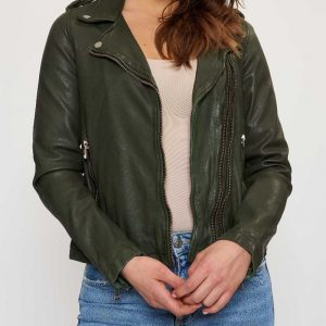 Green biker jacket style costume