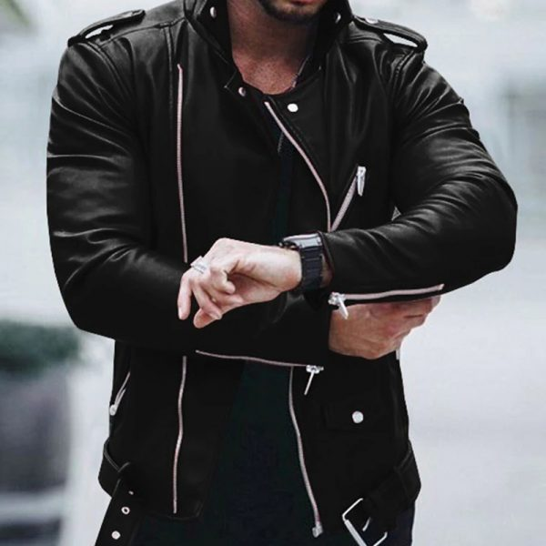 Warm leather costume for men