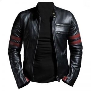 Stylish Black Genuine Leather outwear