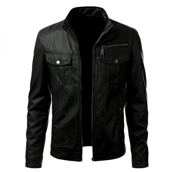 mens black leather outwear