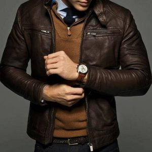 Genuine brown leather outfit