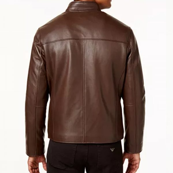 Brown leather mens classic outwear