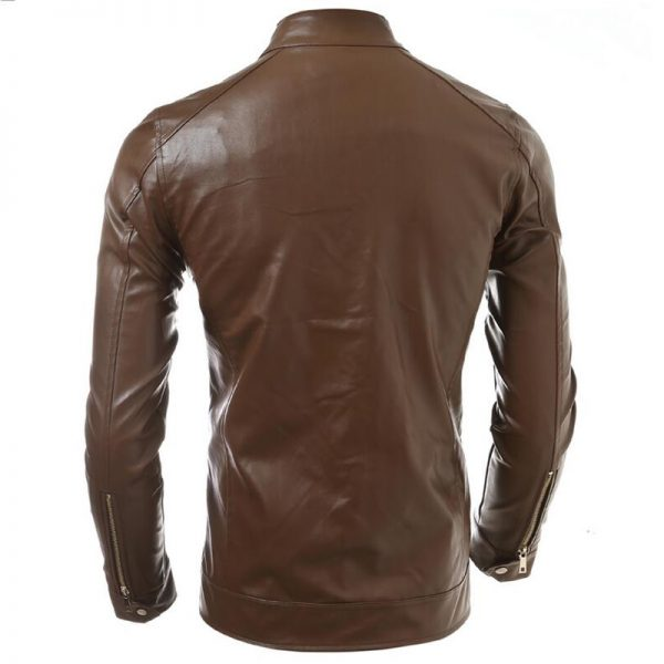 new fashion leather jacket in brown style