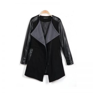 Halloween Women Fashion Solid Zipper Jacket Long Sleeve Trench Coat