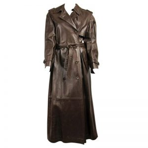 Halloween Escada Brown Leather Trench Over Coat
