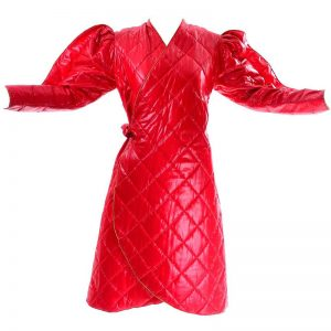 Halloween Garde Custom Shiny Red Quilted Coat