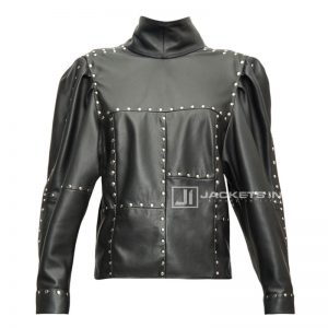 Black Studded Veneza Leather Top For Women