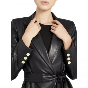 Halloween black faux leather trench coat