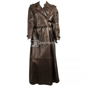 Escada Brown Leather Trench Over Coat