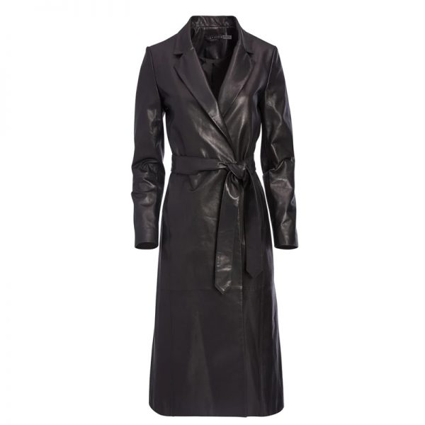 Halloween faux leather trench coat womens