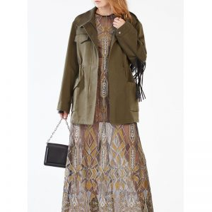 Halloween Olive Stafford Fringe Leather Jacket