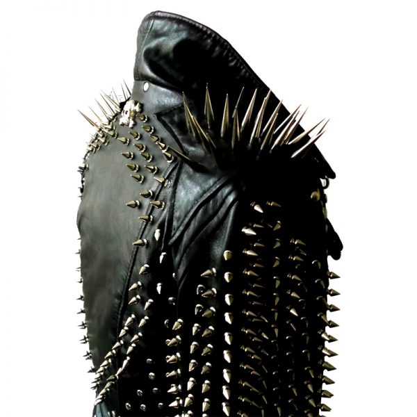 Halloween leather jacket with spikes on shoulder
