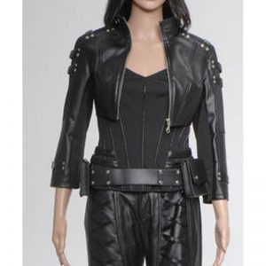 Halloween Katie Cassidy Black Leather Jacket for women