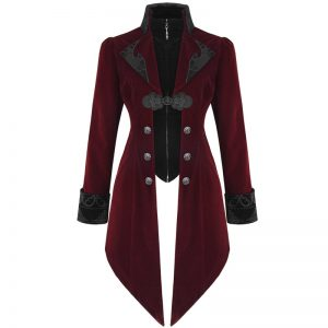 Red Velvet Devil Gothic Long Tail Coat For Women