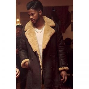 American Actor Trevor Jackson Shearling Brown Leather Coat
