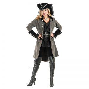 pirates and metal grey long women jacket
