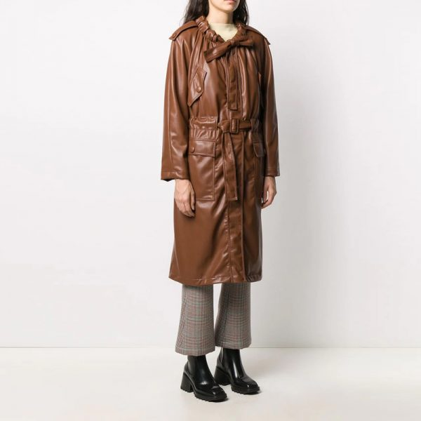 Halloween leather trench coat womens