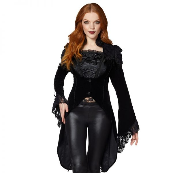 Victorian Gothic Polyester Coat In Halloween Fashion