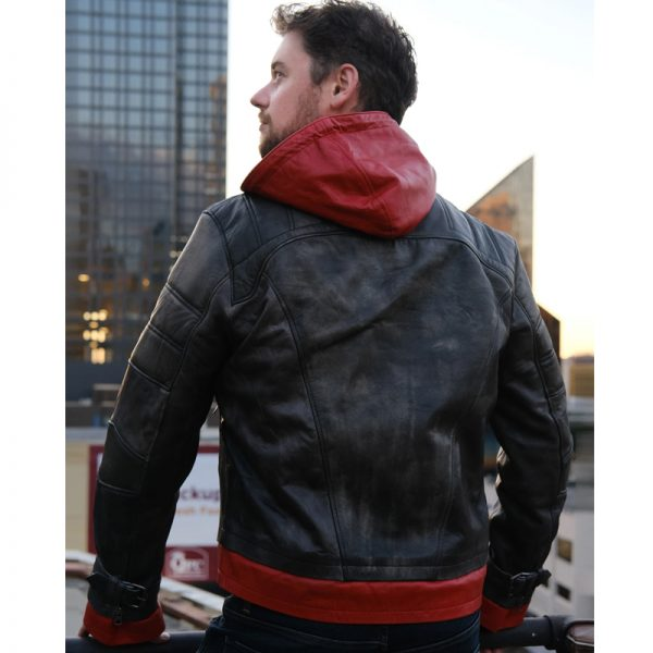 Halloween Red Hooded Mens Leather Jacket