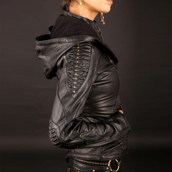 Halloween soft leather fabric jacket for women