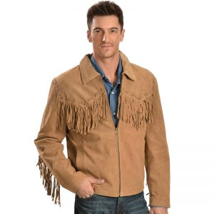 Suede Fringe leather Fabric Jacket
