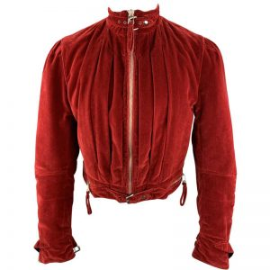 attractive red velvet short jacket