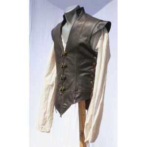 Halloween Brown Leather Jerkin For Mens