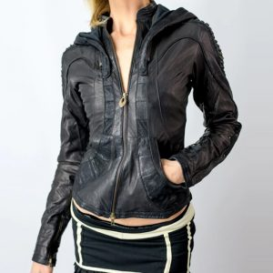 Black_Soft_Cut_Leather_Fabric_Jacket_For_Women