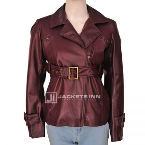 Captivating Pearl Win Berry Belted Leather Jacket For Women's