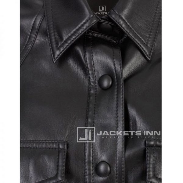 Classy Black Attractive Leather Shirt For Women