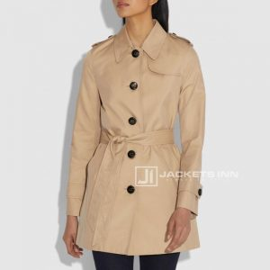 Dazzling Khaki Cotton Comfort Alluring Trench Coat For Womens