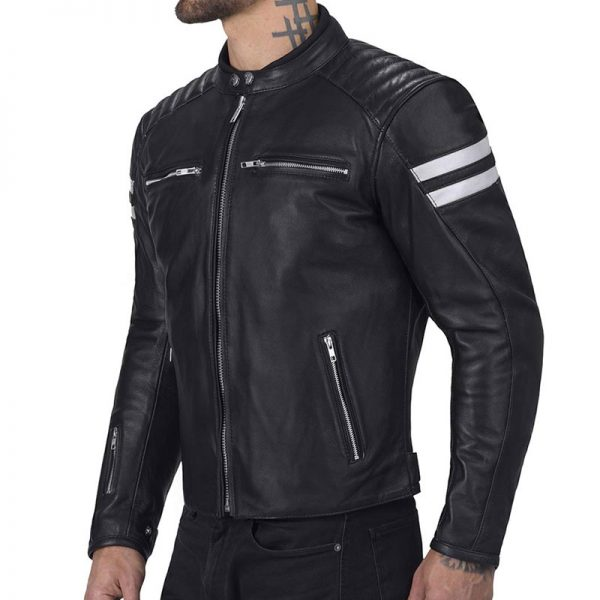 Ionic Super Classy Black Riding Leather Jacket For Men's
