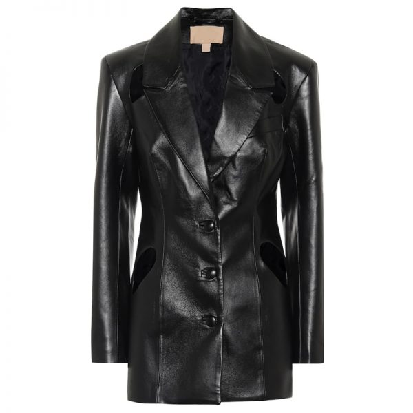 Halloween Glamorous Black Leather Coat for womens