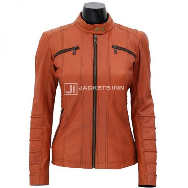 Removable Hooded Pale Tone Of Brown Color Leather Jacket For Women
