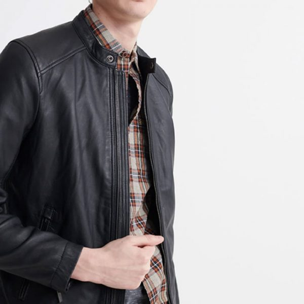 Ultimate Genuine Fabric Monotonous Black Leather Jacket For Mens