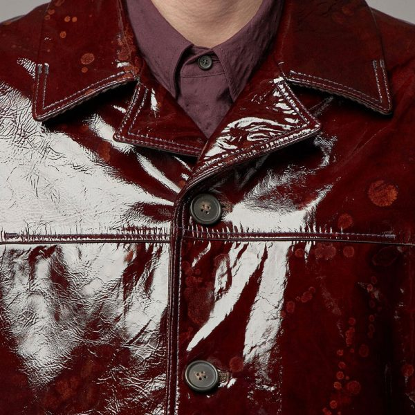 Ultra Modern Red Glossy Leather Fabric Shinny Coat For Men's