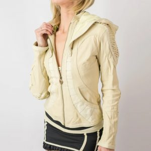 White_Soft_Cut_Leather_Fabric_Jacket_For_Women