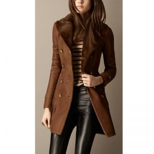 Glamorous Brown Leather Long Coat In Fashion