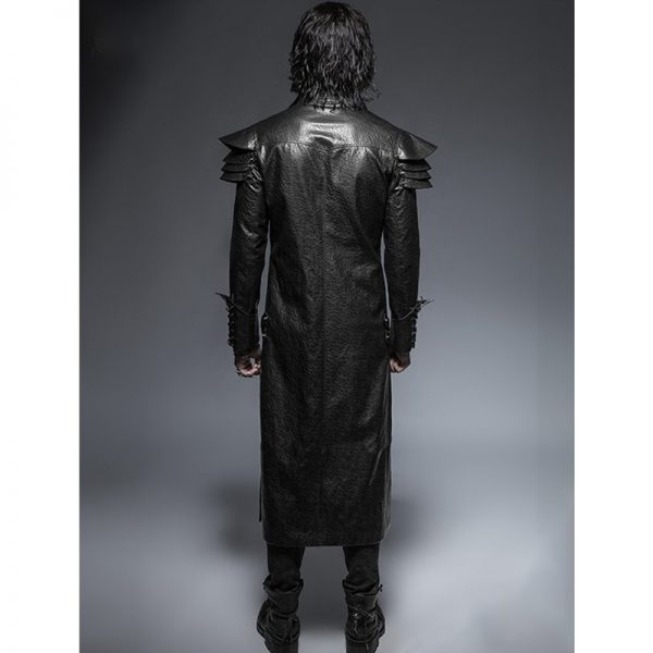 Halloween burberry leather trench coat men's