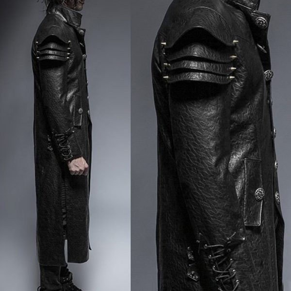 Halloween mens leather trench coat full length