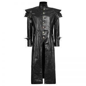 Halloween black leather trench coat mens amazon