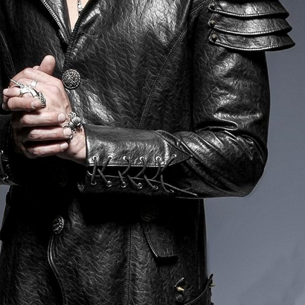 Halloween leather overcoat mens